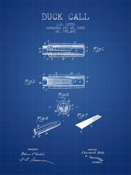 Hunting Season Digital Art - Duck Call Instrument Patent From 1905 - Blueprint by Aged Pixel