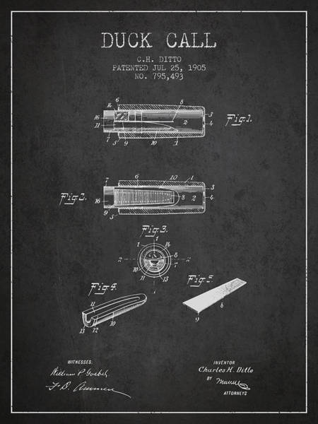 Hunt Digital Art - Duck Call Instrument Patent From 1905 - Charcoal by Aged Pixel