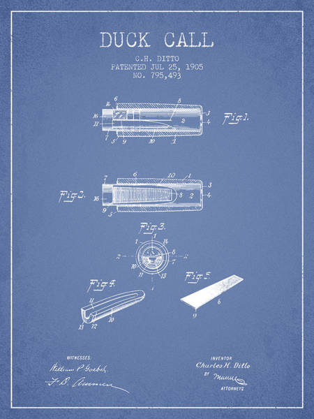 Hunt Digital Art - Duck Call Instrument Patent From 1905 - Light Blue by Aged Pixel