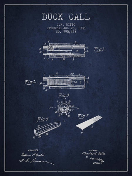 Hunting Season Digital Art - Duck Call Instrument Patent From 1905 - Navy Blue by Aged Pixel