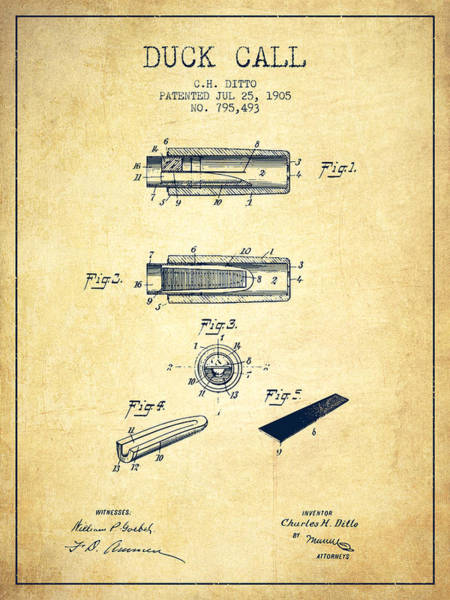Hunt Digital Art - Duck Call Instrument Patent From 1905 - Vintage by Aged Pixel