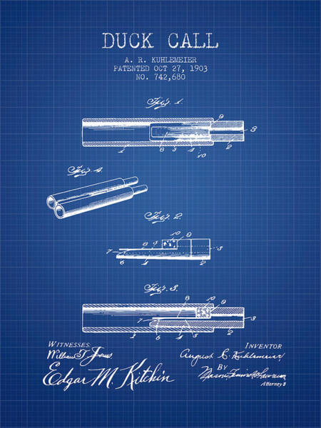 Hunt Digital Art - Duck Call Patent From 1903 - Blueprint by Aged Pixel