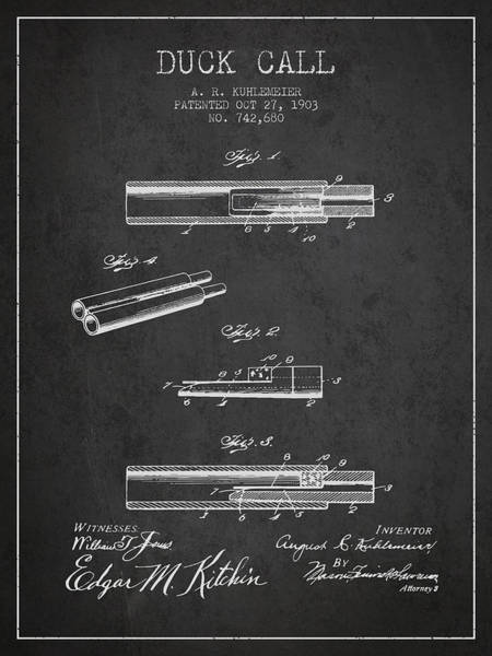 Hunt Digital Art - Duck Call Patent From 1903 - Charcoal by Aged Pixel