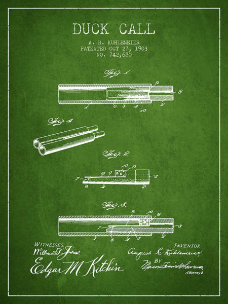 Hunt Digital Art - Duck Call Patent From 1903 - Green by Aged Pixel