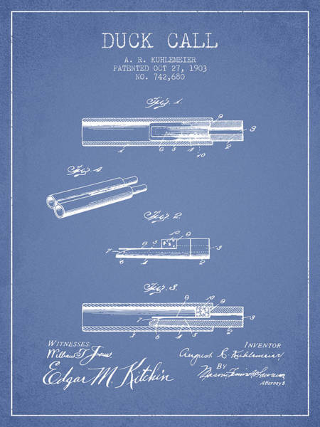 Hunting Season Digital Art - Duck Call Patent From 1903 - Light Blue by Aged Pixel