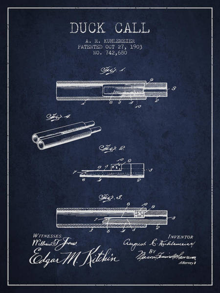 Hunt Digital Art - Duck Call Patent From 1903 - Navy Blue by Aged Pixel