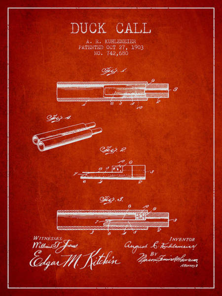 Hunt Digital Art - Duck Call Patent From 1903 - Red by Aged Pixel