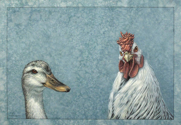 Wall Art - Painting - Duck Chicken by James W Johnson