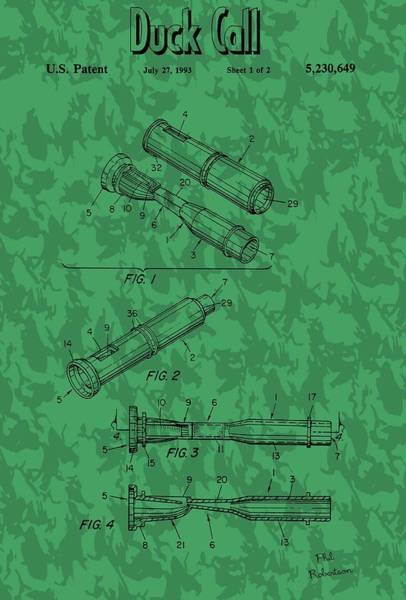 Wall Art - Mixed Media - Duck Commander Duck Call Patent by Dan Sproul