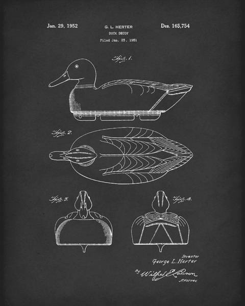 Drawing - Duck Decoy 1952 Patent Art Black by Prior Art Design