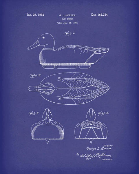 Drawing - Duck Decoy 1952 Patent Art Blue by Prior Art Design