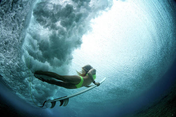Surfing Photograph - Duck Dive From Beneath The Water by Richinpit