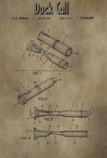 Wall Art - Mixed Media - Duck Dynasty Duck Call Patent by Dan Sproul