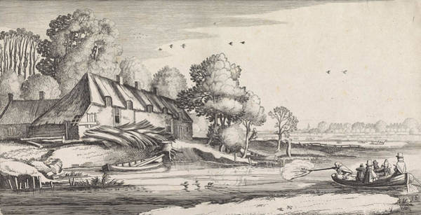 Duck Hunting Drawing - Duck Hunting On A River At A Farm, Print Maker Jan Van De by Jan Van De Velde Ii