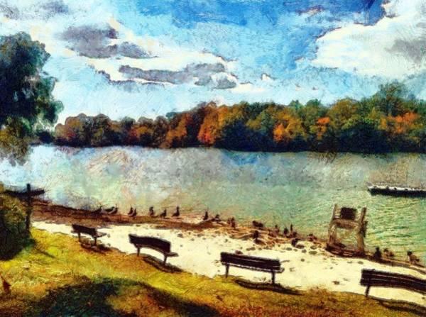 Painting - Ducks At The Beach by Derek Gedney
