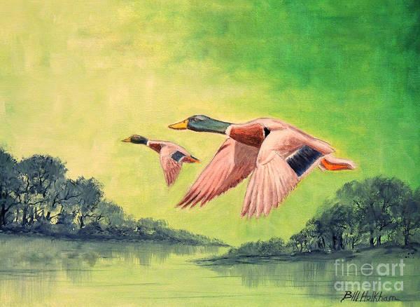 Wall Art - Painting - Ducks In Flight by Bill Holkham