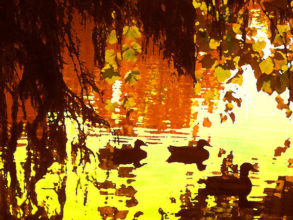 Wall Art - Painting - Ducks On Red Lake by Amy Vangsgard