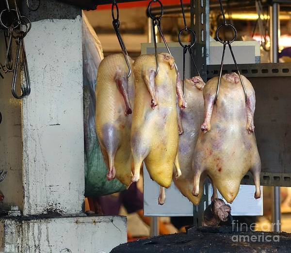Duck Meat Photograph - Ducks Ready For Roasting by Yali Shi