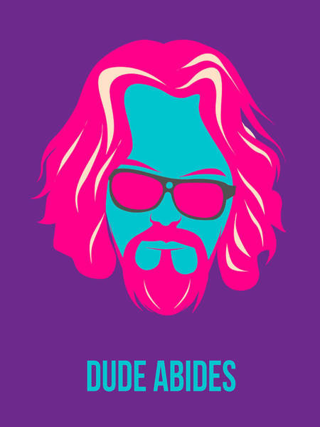 Wall Art - Painting - Dude Abides Purple Poster by Naxart Studio