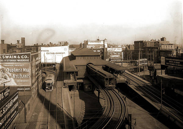 """Railroad Station Drawing - Dudley Street Station, Boston """"l"""" Ry by Litz Collection"""