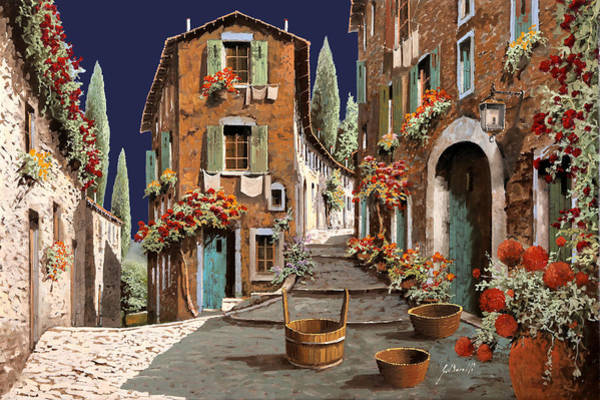 Basket Painting - Due Strade Al Mattino by Guido Borelli