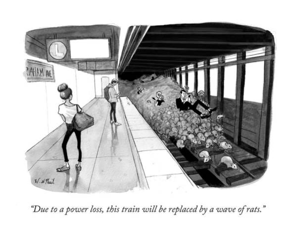 Subways Drawing - Due To A Power Loss by Will McPhail