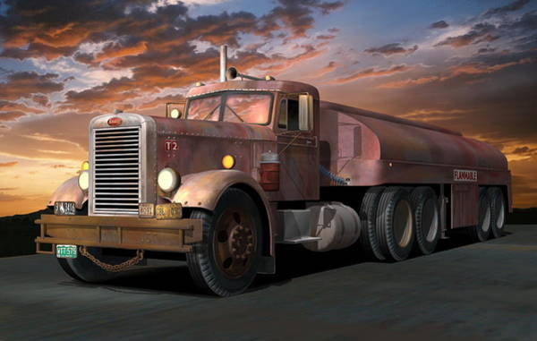 Wall Art - Digital Art - Duel Truck With Trailer by Stuart Swartz