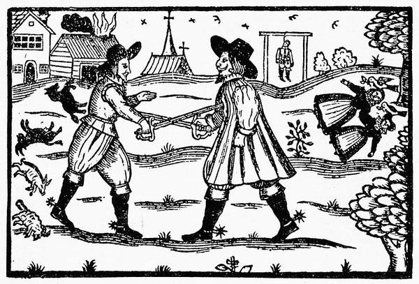 Babe Drawing - Dueling, 1595 by Granger