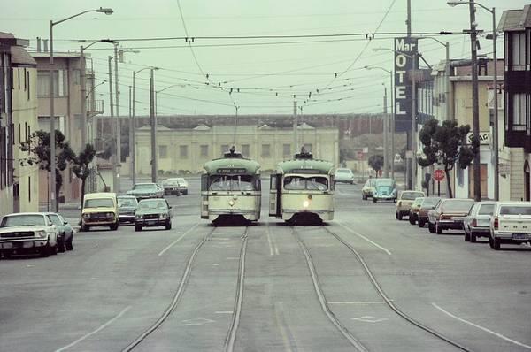 Photograph - N Judah Dueling Streetcars.  End Of Judah Street.  1970s. by John King