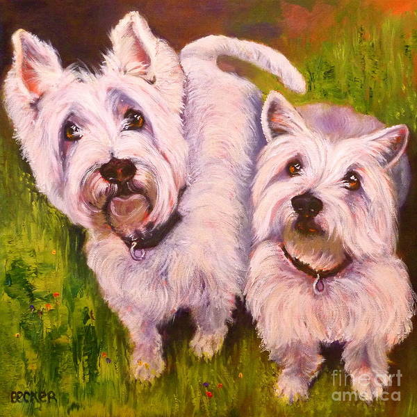 Wall Art - Painting - Duet Of Westies by Susan A Becker