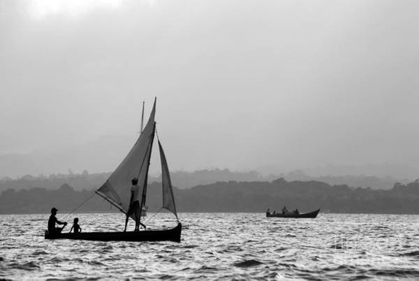 Photograph - Dugout Sailing Canoes In The Caribbean by James Brunker