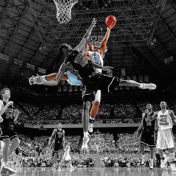 Wall Art - Mixed Media - Duke And Unc Basketball by Brian Reaves