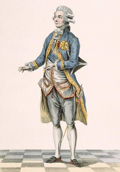 Royal Court Drawing - Duke In His Ceremonial Attire Pictured by Pierre Thomas Le Clerc