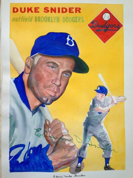 Hitter Painting - Duke Snider by Robert  Myers
