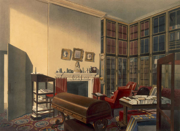 Library Drawing - Dukes Own Room, Apsley House, By T. Boys by Thomas Shotter Boys