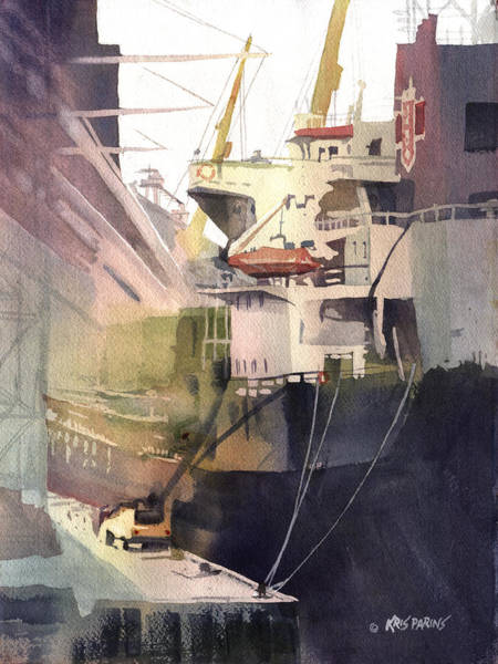 Freighter Wall Art - Painting - Duluth Harbor by Kris Parins