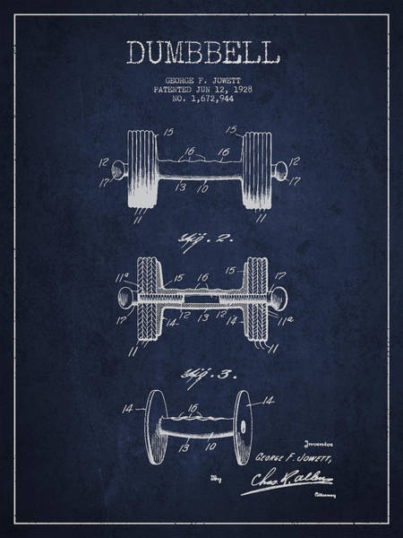 Dumbbell Patent Drawing From 1927 Art Print