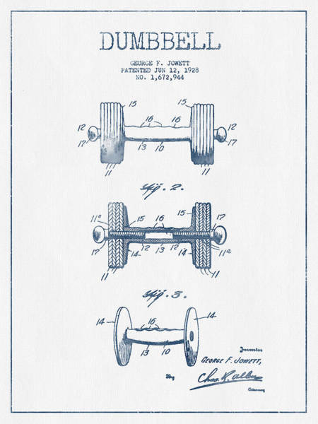 Dumbbell Patent Drawing From 1935  -  Blue Ink Art Print