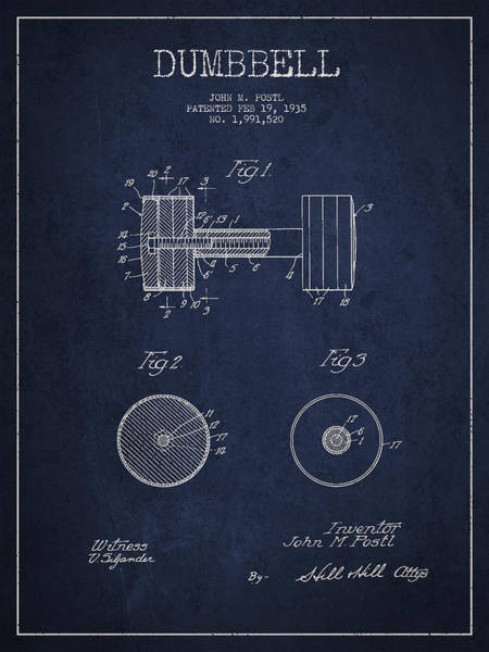 Dumbbell Patent Drawing From 1935 Art Print