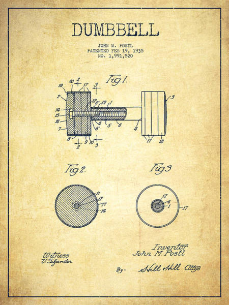 Dumbbell Patent Drawing From 1935 -vintage Art Print