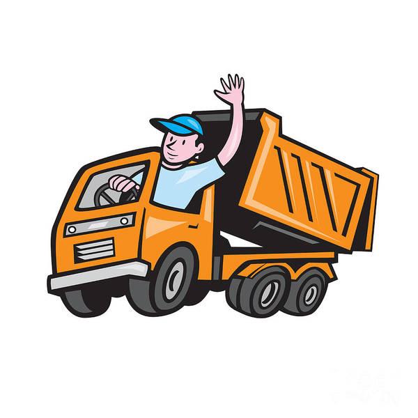 Dump Truck Digital Art - Dump Truck Driver Waving Cartoon by Aloysius Patrimonio