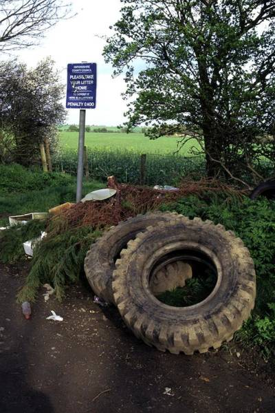 Tyre Wall Art - Photograph - Dumped Rubbish by David Taylor/science Photo Library