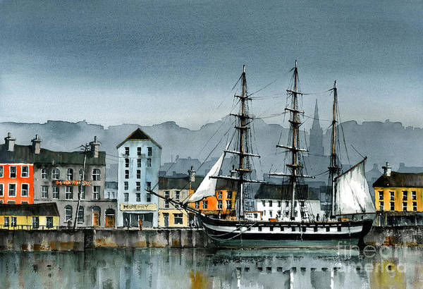 Painting -  Dunbrody Famine Ship  In New Ross by Val Byrne
