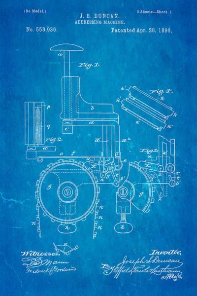 1896 Photograph - Duncan Addressing Machine Patent Art 1896 Blueprint by Ian Monk