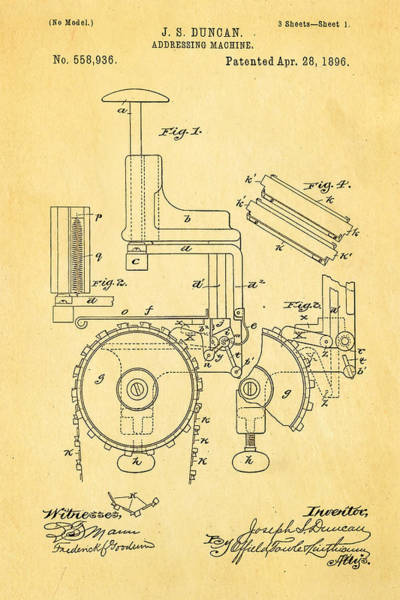 Addressing Photograph - Duncan Addressing Machine Patent Art 1896 by Ian Monk