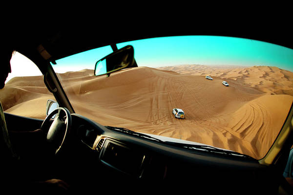 View Through Window Photograph - Dune Bashing In The Empty Quarter by Jereme Thaxton