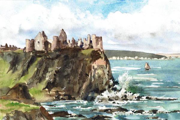 Painting - Dunluce Castle Antrim N I by Val Byrne