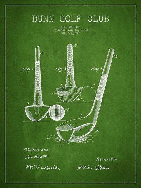 Wall Art - Digital Art - Dunn Golf Club Patent Drawing From 1900 - Green by Aged Pixel