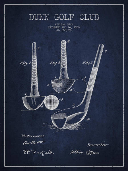 Wall Art - Digital Art - Dunn Golf Club Patent Drawing From 1900 - Navy Blue by Aged Pixel