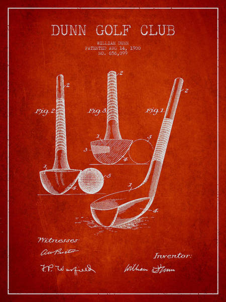 Pga Digital Art - Dunn Golf Club Patent Drawing From 1900 - Red by Aged Pixel